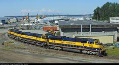 Net Photo: ARR 4324 Alaska Railroad EMD at Anchorage, Alaska by Mike Mautner Alaska Railroad, Railroad Photography, Train Layouts, Paint Schemes, Train Tracks, Model Trains, Locomotive, Scenery, Anchorage Alaska