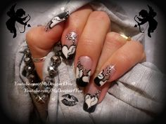 Inspiration by MyDesigns4You. MONOCHROME VALENTINES NAIL ART, HOW TO BEADS ON A STRING http://www.youtube.com/watch?v=IrQJbG49NMo #nailart #nails #mydesigns4you #frenchtip #frenchnails #manicure #naildesign #valentinesnails #valentinesday #monochrome #monochromenails #blackandwhitenails #antivalentines #valentinesdaynails  @bloomdotcom