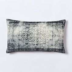 Velvet Arabesque Pillow Cover - Slate #westelm.  CONSIDER 2 OF THESE FOR YOUR LEATHER CHAIRS TO PULL IN THE GREY.