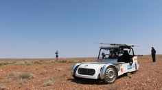 Solar car in the outback