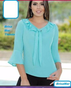 Related Image - blusas - Women in Uniform Blouse Styles, Blouse Designs, Bluse Outfit, African Blouses, Fancy Tops, Dress Sewing Patterns, Blouses For Women, Fashion Dresses, Chiffon