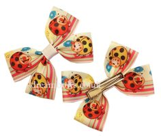 Cute Ladybird design grosgrain ribbon hairbows on alligator clips - www.dreambows.co.uk #bows #dreambows #hairbows #girlshair