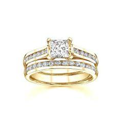1.67 CaratPrincess Cut DiamondBridal Set on 10K Yellow - Gold FineTresor. $9651.57. Center Dimond Carat Weight: 1.00. Center Diamond Cut: Princess. Diamond Clarity: I1-I2. Diamond Color: I-J. Metal: 10 K Yellow - Gold