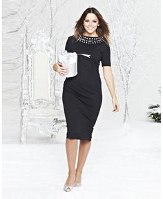 Beaded Neck Fitted Dress at Simply Be
