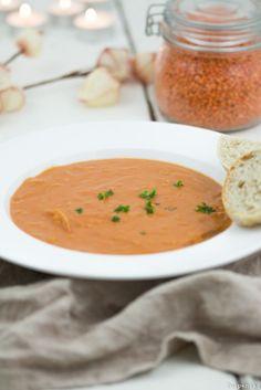Rote Linsen Suppe Rezept vegetarisch Kokosmilch Tomaten kalorienarm vegan