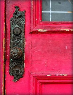 Pretty Reddish~Pink Door with Lovely Hardware