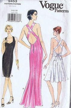 Vogue Pattern  Pattern Number 9453  Copyright: Modern    Misses Backless Cocktail Dress Pattern