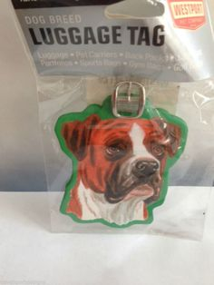 Bulldog Luggage Tag Baggage Uncropped Ears Vacation Travel School Mascot Dog