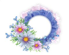 Blue and Pink Round Transparent Frame with Flowers