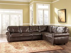 Traditional Leather sectional sofa 72