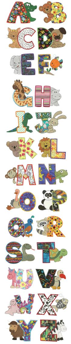 "If you loved our filled version of ""Cute Critters Alphabet"", you are sure to love this bright and cheery applique version as well! Would make a great cloth alphabet book Machine Embroidery Applique, Applique Patterns, Applique Quilts, Applique Designs, Quilt Patterns, Embroidery Alphabet, Alphabet A, Typography Alphabet, Alphabet Design"