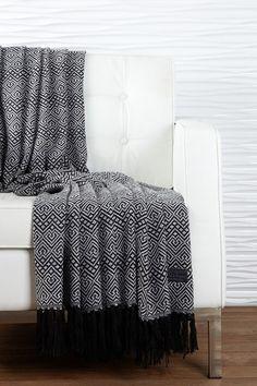 "Alpaca Paracas Pattern Throw - Black/Ivory - 54"" x 63"" by Kanto Home on @HauteLook"