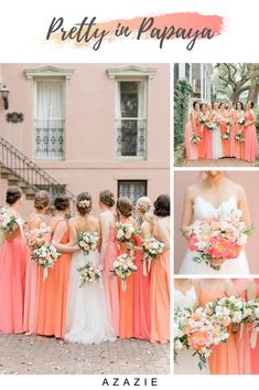 This sunset-inspired color palette is a gorgeous way to combine pink and orange hues. Wedding colors shown: Azazie Papaya, Watermelon, Coral and Sunset. wedding colors Pink and Orange Bridesmaid Dresses Coral Wedding Themes, Orange And Pink Wedding, Spring Wedding Colors, Sunset Wedding Theme, Coral Color Wedding, Coral Wedding Flowers, Orange Pink, Coral Pink, Wedding Motif Color