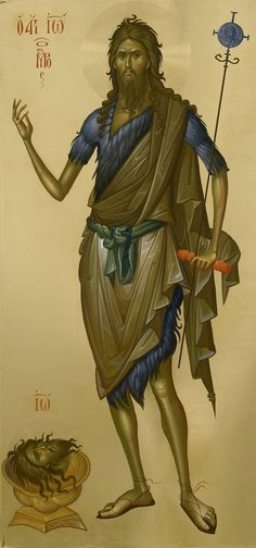 St John the Baptist icon, by Fr Ilie Bobaianu. Byzantine Art, Byzantine Icons, Religious Icons, Religious Art, Sainte Sophie, Greek Icons, Religion, Paint Icon, Jean Baptiste