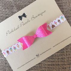 Hot Pink Glitter Bow on Ice Cream Elastic by pickledpeachbowtique