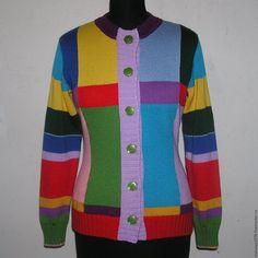 Купить Кардиган разноцветный - кардиган, кардиган женский, кардиган на пуговицах, Машинное вязание, приталенный силуэт