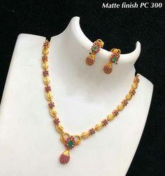 Beautiful #Matte Finish #Jewelry #ruby and #Emerald #necklace