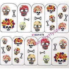 1 sheet Cool Skull Flower Water Decals Halloween Theme Transfer Sticker Nail Art Stickers Decoration #4904