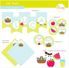 Festa Picnic Menino: Kit Digital Personalizado | 4Party|Kits para Festas