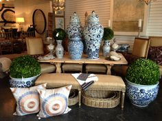 Classic blue and white pottery with reclaimed wood farm table