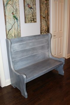 After Painting This Old Church Pew With General Finishes Queenstown Gray,  And High Performance Flat Top Coat, It Was Completed With Winter White  Glaze And ...