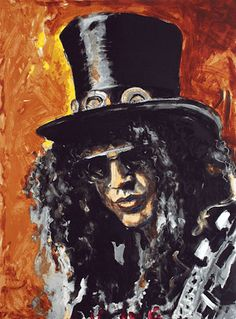 Ronnie Wood: Slash Ronnie Wood paints and shows musical movement in his brush strokes. I like Ronnie's paintings. Many muso's are multitalented. I'd like to see his exhibition one day.