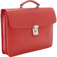 Royce Leather Kensington Single Gusset Briefcase (Red)