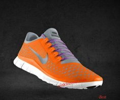 Clemson!!!  Womens Nike Free 3.0 V4 Total Orange Reflective Silver Pro Platinum Deep Purple Lace Shoes     #Orange  #Womens #Sneakers