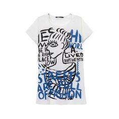 Words and Woman Print Short Sleeves T-Shirt