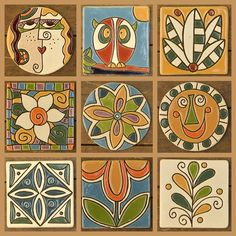 No photo description available. Painting Ceramic Tiles, Tile Art, Mosaic Art, Ceramic Art, Painted Pots, Hand Painted, Indian Folk Art, Art Plastique, Watercolor Art