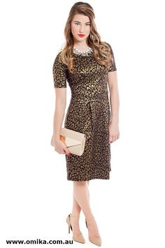 """""""Laura"""" - shimmering gold, this zip-free pull over dress is fuss free, to let you focus on fun, not fuss."""