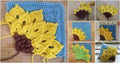 Lindo Girassol em Formato Quadrado de Crochê [Padrão Grátis] - Amo Fazer Crochê