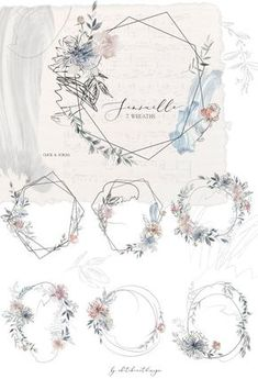Sensuelle Pink Gray Blue Watercolor Floral Wreaths Geometric Frames Flowers Peonies Clipart Set Wedding Clip Art Hand Painted PNG Graphics Source by dchaveztrigo Floral Wreath Watercolor, Watercolor Flowers, Watercolor Art, Watercolor Wedding, Painting Flowers, Vintage Illustration, Watercolor Illustration, Wedding Clip, Wedding Cards
