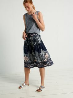 da42172d2998f Meet the Sienna A-line skirt – a midi length of our bestselling Milena  maxi. We ve kept the loose fit and navy colour scheme that you love and  introduced a ...