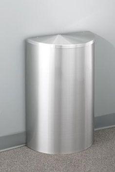 Glaro 10 Gallon Half Round Trash Can With Hinged Lid
