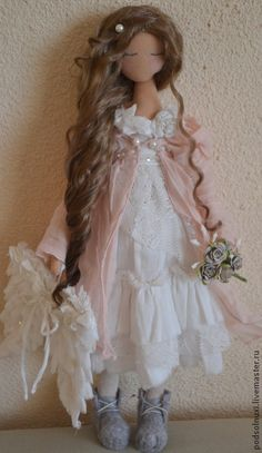 По мотивам РОЗОВОЕ УТРО - кукла ручной работы,подарок,интерьерная игрушка