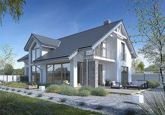 Zdjęcie projektu Z Charakterem 3A WAW1091 Home Design Decor, Modern House Design, Gable Roof Design, Bungalow Renovation, My House Plans, Cute House, Hamptons House, House Roof, Design Case