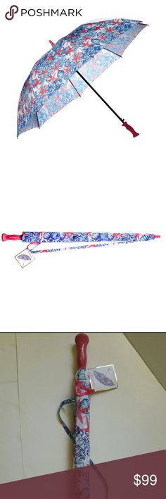 """LILLY PULITZER SHE SHE SHELLS GOLF UMBRELLA LILLY PULITZER GOLF UMBRELLA IN """"SHE SHE SHELLS"""" PRINT! VENTED CANOPY, AUTO OPENS TO 60"""" LIGHTWEIGHT, ALUMINUM FREE, MEASURES 38.5"""" 60"""" WIDE  BNWT: BRAND NEW WITH THE TAGS. NEVER BEEN USED OR OPENED.  No Smoking, Buy It Now, Bundle Discounts Available, Reasonable Offers Accepted Only, Sorry NO Trades!  HAPPY SHOPPING=) Lilly Pulitzer Accessories Umbrellas"""