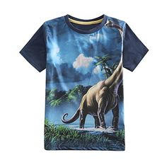 Coralup Boys Lifelike Print Dinosaur TShirt H430456 YearsBlue -- Click on the image for additional details.Note:It is affiliate link to Amazon.
