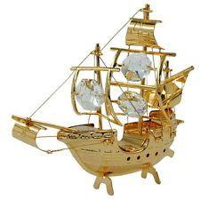 sail ship like santa maria with crystal elements gold plated Swarovski Crystal Figurines, Swarovski Crystals, Santa Maria, Wedding Notebook, Classic Sailing, Vintage Jewelry, Handmade Jewelry, Leaded Glass, Luxury Jewelry