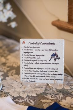 Football Commandments; AKA basic football knowledge all guests should know.-----Photo Courtesy of Look Wedding Photography