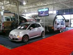 RV dealer Can-Am is on a mission to prove that you can use small or mid-size cars with tow capability to travel in comfort. Towing with a Fiat 500 looks attractive, and Can-Am drove this combo from London, Ontario to the RV Show in Toronto. The secret to towing with a small vehicle, says Can-Am towi