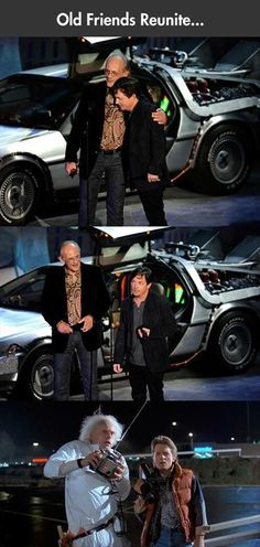 Doc Brown & Marty McFly (Christopher Lloyd & Michael J. Marty Mcfly, Movies Showing, Movies And Tv Shows, Friends Reunited, Science Fiction, Doc Brown, Michael J Fox, Bttf, Charlie Chaplin