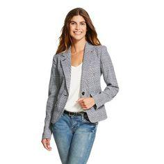 Women's Plaid Tailored Blazer White/Black - Merona�