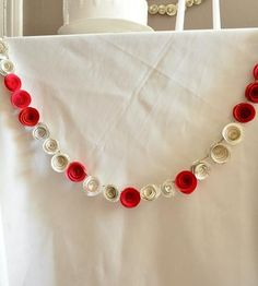 Red & Recycled Book Page Paper Flower Holiday Garland.