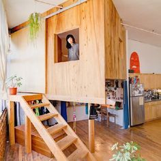 Designer Terri Chiao has built a treehouse and cabin within her Brooklyn loft to create more privacy.