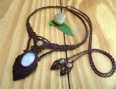 Rainbow moonstone macrame necklace sunstone by SelinofosArt