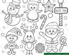 Santa and Friends Digital stamps set von pixelpaperprints auf Etsy MehrJungle Friends Digital stamps Clipart by pixelpaperprintsClip art images by Pixel Paper Prints. Buy 3 get 1 free by pixelpaperprintsAre you looking for cute high quality images to Christmas Colors, Christmas Crafts, Vintage Christmas, Christmas Friends, Christmas Christmas, Clip Art, Theme Noel, Christmas Coloring Pages, Christmas Clipart