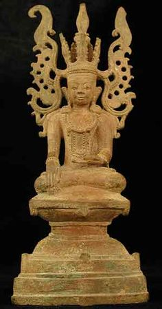 "Shan Bronze Sculpture of Buddha as the Subduer of Jambhupati - FZ.295 Origin: Myanmar (Burma) Circa: 17 th Century AD to 18 th Century AD Dimensions: 10"" (25.4cm) high"