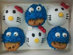 hello kitty, cookie monster, cupcakes